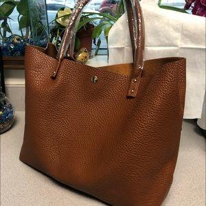 Handbags - Caramel Vegan Leather Tote Bag